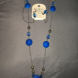 Blue sexy necklace and earrings set